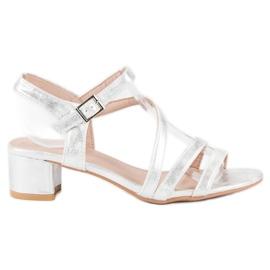 Ideal Shoes Sandały na płaskim obcasie szare 1