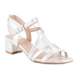 Ideal Shoes Sandały na płaskim obcasie szare 2