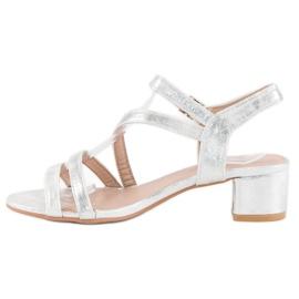 Ideal Shoes Sandały na płaskim obcasie szare 3