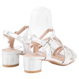 Ideal Shoes Sandały na płaskim obcasie szare 4