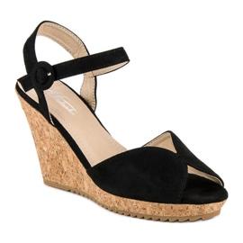 Sandały na korkowej koturnie czarne 2