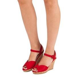 Sandały na korkowej koturnie czerwone 6