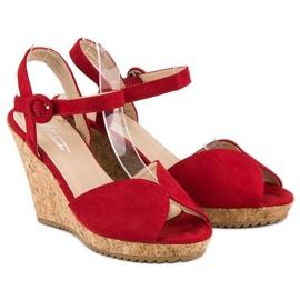 Sandały na korkowej koturnie czerwone 5