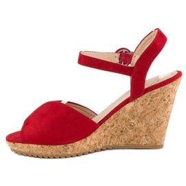 Sandały na korkowej koturnie czerwone 3