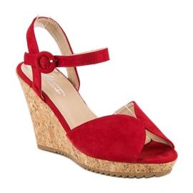 Sandały na korkowej koturnie czerwone 2