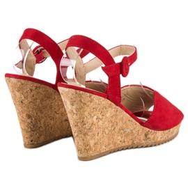 Sandały na korkowej koturnie czerwone 4