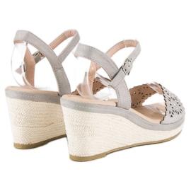 Ideal Shoes Szare espadryle na koturnie 4