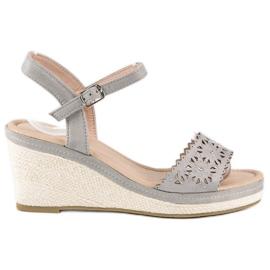 Ideal Shoes Szare espadryle na koturnie 1