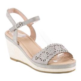 Ideal Shoes Szare espadryle na koturnie 2