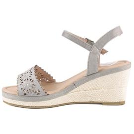 Ideal Shoes Szare espadryle na koturnie 3