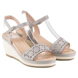 Ideal Shoes Szare espadryle na koturnie 5