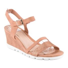 Ideal Shoes Różowe sandały na koturnie 1