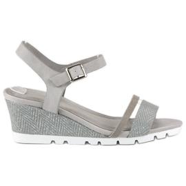 Ideal Shoes Szare sandały na koturnie 1
