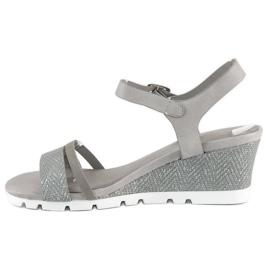 Ideal Shoes Szare sandały na koturnie 3