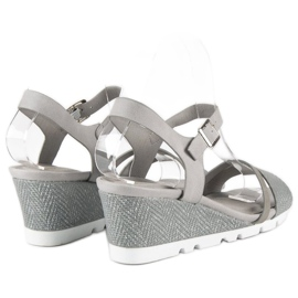 Ideal Shoes Szare sandały na koturnie 4