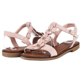 L. Lux. Shoes Zamszowe płaskie sandałki różowe 2