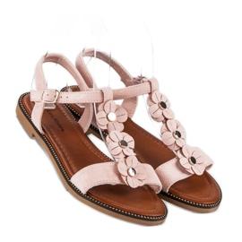 L. Lux. Shoes Zamszowe płaskie sandałki różowe 3