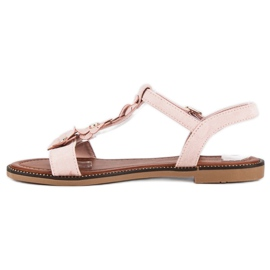L. Lux. Shoes Zamszowe płaskie sandałki różowe 1