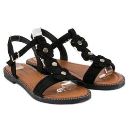 L. Lux. Shoes Zamszowe płaskie sandałki czarne 1