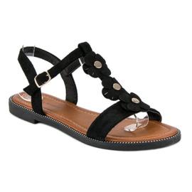 L. Lux. Shoes Zamszowe płaskie sandałki czarne 2