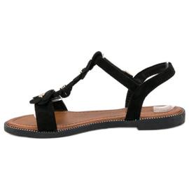L. Lux. Shoes Zamszowe płaskie sandałki czarne 3