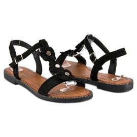 L. Lux. Shoes Zamszowe płaskie sandałki czarne 4