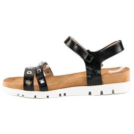 Forever Folie Czarne sandały z dżetami 4
