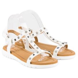 Bestelle Wygodne sandały płaskie białe 1