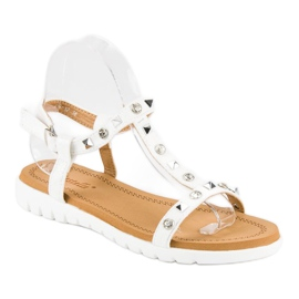 Bestelle Wygodne sandały płaskie białe 2