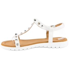 Bestelle Wygodne sandały płaskie białe 3