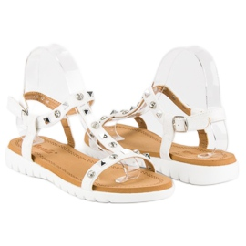 Bestelle Wygodne sandały płaskie białe 4