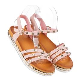 Anesia Paris Rockowe Płaskie Sandały różowe 1