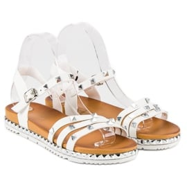 Anesia Paris Rockowe Płaskie Sandały białe 1