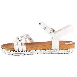 Anesia Paris Rockowe Płaskie Sandały białe 3