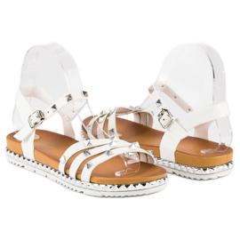 Anesia Paris Rockowe Płaskie Sandały białe 4