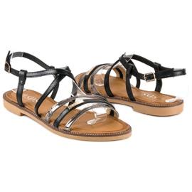 SDS Eleganckie płaskie sandały czarne 3
