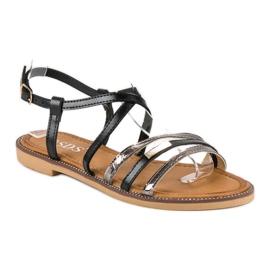 SDS Eleganckie płaskie sandały czarne 1