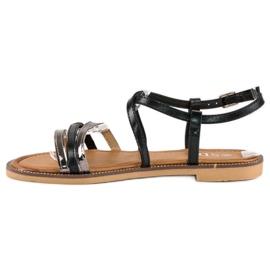 SDS Eleganckie płaskie sandały czarne 2