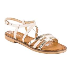 SDS Eleganckie płaskie sandały brązowe 1
