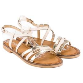 SDS Eleganckie płaskie sandały brązowe 4