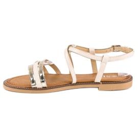 SDS Eleganckie płaskie sandały brązowe 2