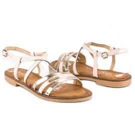 SDS Eleganckie płaskie sandały brązowe 3