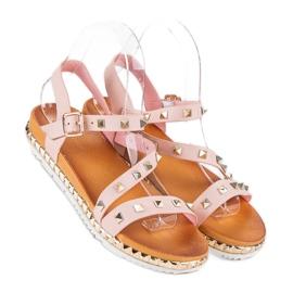 Anesia Paris Różowe Sandały Z Ćwiekami 1