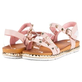 Anesia Paris Różowe Sandały Z Ćwiekami 2