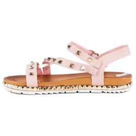 Anesia Paris Różowe Sandały Z Ćwiekami 3
