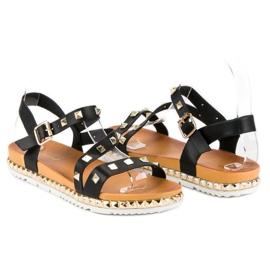 Anesia Paris Czarne Sandały Z Ćwiekami 1