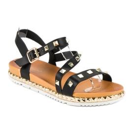 Anesia Paris Czarne Sandały Z Ćwiekami 2