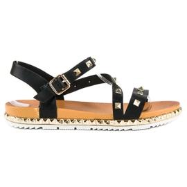 Anesia Paris Czarne Sandały Z Ćwiekami 4