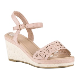 Ideal Shoes Beżowe espadryle na koturnie beżowy 1