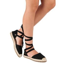 Sweet Shoes Wiązane espadryle czarne 9